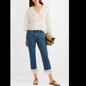 Tory Burch Connor Fringe-Bottom Cropped Jeans Sz30